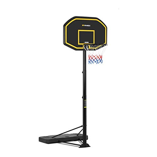 Gymrex GR-BS11 Basketballkorb mit Ständer 200-305 cm höhenverstellbar 2 Rollen wetterfest Ring Ø 45 cm Standfuß befüllbar Basketballständer Basketballanlage