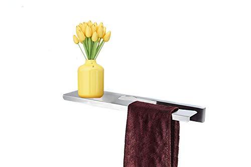 Mensola da bagno moderna con barra porta asciugamani, porta asciugamani in acciaio inox SUS 304, spazzolato, accessori da bagno, doccia, in acciaio inox, 45,7 cm