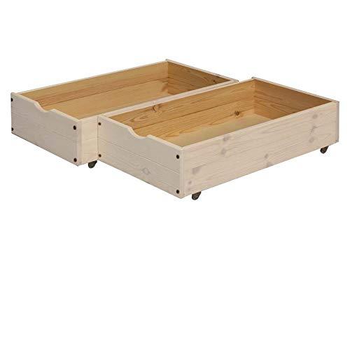 silenta Rollkästen zu Hochbett Kronach 2 Stück - 49 x 90 cm, für zusätzlichen Stauraum unter dem Bett