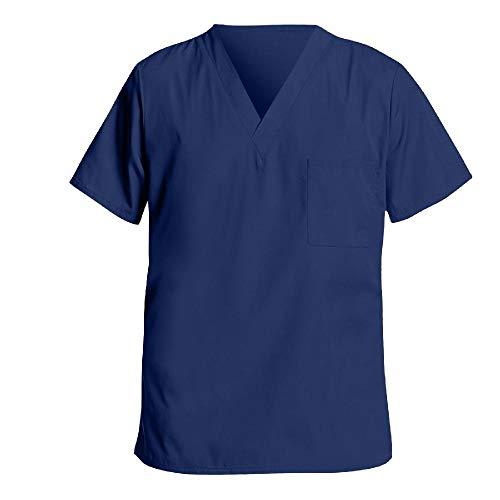 N\P Hombres Tops Color sólido manga corta V-cuello Tops Trabajo Camisetas