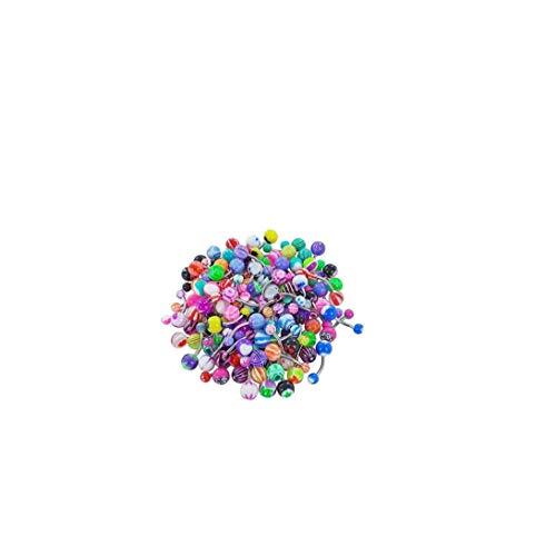 60pcs Surtido de Bolas de Colores Piercing Lengua Pezón Anillo Barras de Botones Profesional joyería Piercing Multi usos del Vientre Anillos de Color Mixto