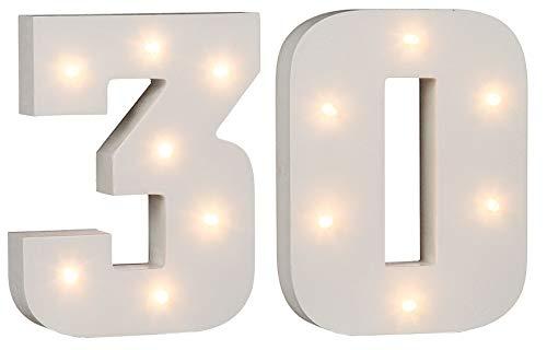 LED-cijfers verjaardagsgetallen verlicht voor verjaardag 18, 30, 40, 50, 60 om uit te kiezen uit hout wit gelakt batterijvoeding