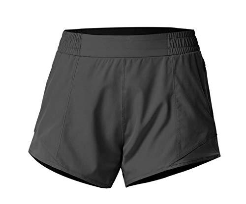 ZYLL Pantalones Cortos para Correr Pantalones Cortos de Yoga 2 en 1 Pantalones Cortos para Correr Deportes de Jogging Gimnasio Pantalones con Bolsillos Pantalones Cortos,Negro,M