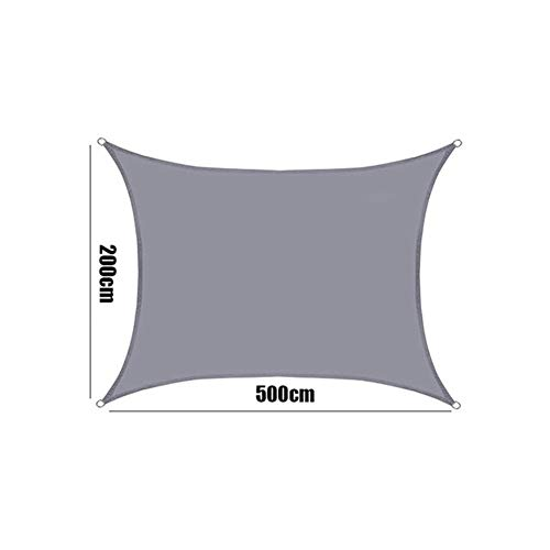 MUMUWUEUR Grey Waterproof Shade Sail Polyester Oxford Fabric Square Awnings Sun Shade Canopy for Outdoor Garden Rodless Tent (Color : 200x500cm, Size : Grey)