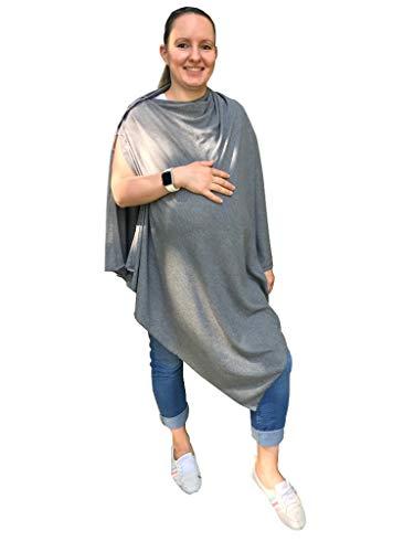 M.M.C. Mandy Still-Poncho 3-in-1 Verwendung zum Stillen, als Stillschal oder als Babydecke - Umstandsmode für und nach der Schwangerschaft (Grau, Einheitsgröße)