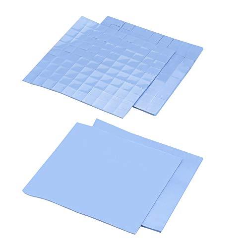 TANCUDER 4 Feuilles Pad Thermique Cpu, Pad Thermique en Silicone 10*10*0.1cm et 10*10*0.2cm Silicone Conducteur Thermique Pad Thermique ps4 pour GPU/CPU/VGA/IC/LED Réduire Travail Température