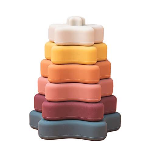 Let's Make Silikon Zahnen Stapeln Spielzeug Lernen Montessori Spiel für Baby Soft Stacker Blocks Beißring (Sternform)