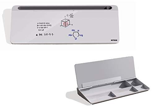 NITRAM Pizarra para oficina o escritorio de cristal blanco con espacio para almacenamiento de accesorios y ranura para tablet/móvil. Dimensiones: 40,5 x 18,5 x 6 cm. Incluye borrador.