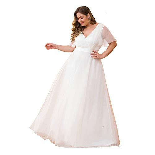 BGGYF Hochzeitskleid Plus Size A-Linie Doppel-V-Ausschnitt Kurzarm Rüschen Illusion Formale Brautkleider Reißverschluss Partykleid Korsett Damen
