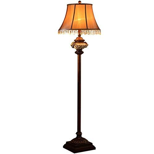 BJLWTQ American Retro lámpara de pie, Tallado Antiguo lámpara de pie, Europeo de Madera Maciza de Color clásico Resina Vertical lámpara de Mesa