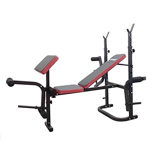 FFitness Banco de pesas plegable multifunción para gimnasio, pectorales con soporte para pesas y respaldo ajustable