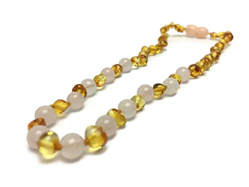 "Baltic Amber Necklace Polished 12.5"" Authenticy Certificate All Natural 100% Safe (Lemon-Pink)"