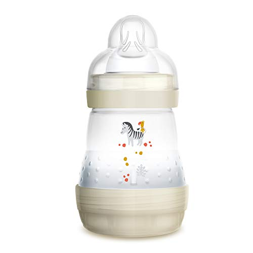 Image of MAM Easy Start Anti-Colic Bottle, 5 oz (1-Count), Newborn Essentials, Slow Flow Bottles with Silicone Nipple, Unisex Baby Bottles, White