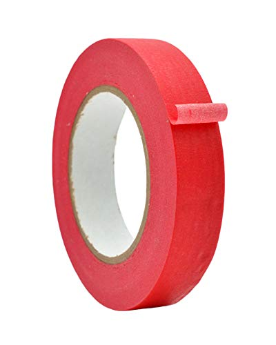 WOD MTC5 General Purpose Red Masking Tape, 1 inch X 60 yds. - for Fun DIY Arts & Crafts, Labeling, Writable & Decorations (Available in Multiple Sizes & Colors)