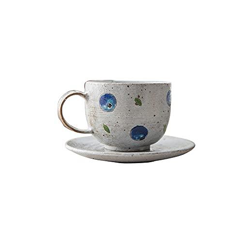 SXXYTCWL Taza de café platillo Conjunto Creativo Retro cerámico Pintado a Mano Taza de café Adecuado para el café Regalos Familiares Restaurante Oficina Espresso Tazas Tazas de café 230ml