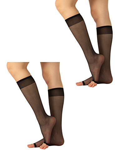 2 Pairs Sheer Open Toe Knee-High Socks   Toeless Socks with Comfort Band   Knee-High Socks for Peep Toe Shoes   10 DEN   Skin, Black   One Size   Made in Italy (One Size, Black)