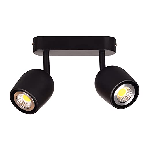 TWSXTE Lámpara de techo LED 2 foco giratorio orientable GU10 portalámparas foco 2 llama giratorio giratorio (sin bombilla)