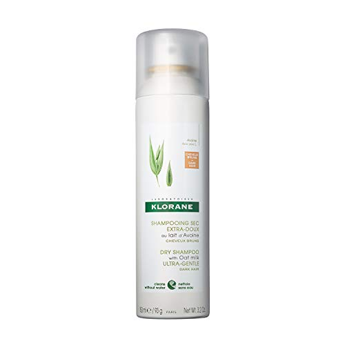 Klorane Dry Shampoo with Oat Milk, For Dark Hair, Natural Tint, All Hair Types, Paraben & Sulfate-Free, 3.2 oz.