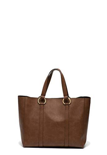 SISLEY SHOPPING BAG BROWN AND BRONZE 36X30X16 CM