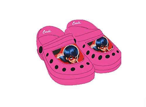 Miraculous Ladybug | Zapatos Sandalias De Verano | Crocs | Zuecos | Sandalias de Playa | Hermoso Diseño | con Lady Bug! | (EU 24/25, Crocs Zuecos Rosas)