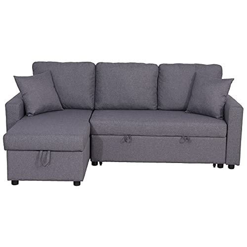 Kingway Furniture Hemus Linen Blend Reversible Sectional Sleeper Sofa with Pillows in Gray