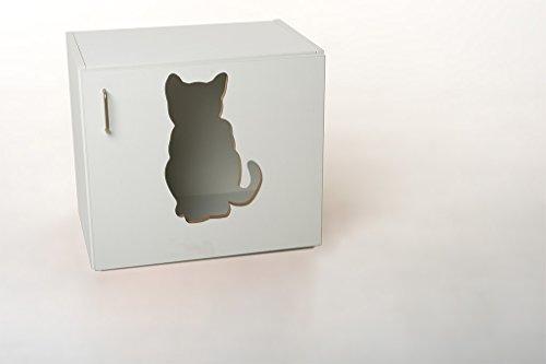 Hermes24 Katzentoilette Katzenhöhle Nyanko KLONYA B/T/H 60 x 41 x 53,5 cm weiß matt Katzenhaus Katzenschrank