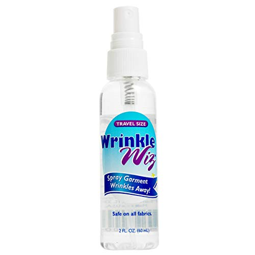Lewis N. Clark Wrinkle Wiz: No Wrinkle Release Spray - Easy Iron Spray Starch + Static Cling Odor Eliminator for Clothes, TSA Approved - 2oz Spray Bottle
