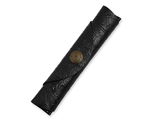 Pen Pouch Leather Single Fountain Pen Case with Button Protective Pen Sleeve - Black Carved