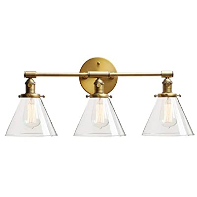 Permo Vintage Industrial Antique Three-Light Wall Sconces with Funnel Flared Clear Glass Shade