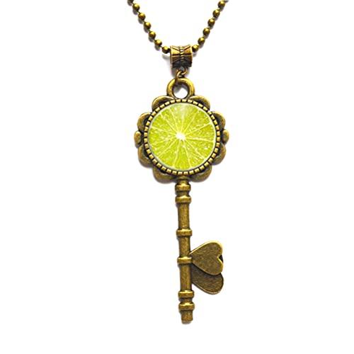 Collar colgante de limón con llave de lima, joyería de frutas cítricas, joyería de frutas y frutas, regalo JV237