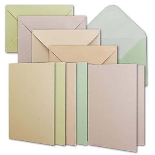 25 Perlmutt Kartenset inklusive Briefumschläge - Blanko Kartenset mit Geschenkschachtel - DIN A6 Einladungskarten aus 5 verschiedenen Pastellfarben - 10.5 x 14.8 cm