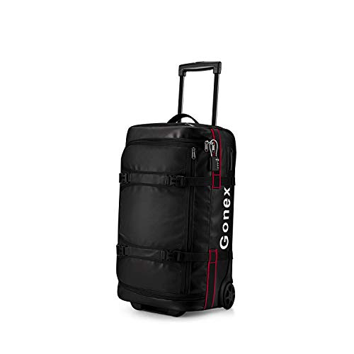 Gonex Rolling Duffle Bag with Wheels, 50L Water Repellent Wheeled Travel Duffel Carry On Luggage with Rollers 22 inch, TSA Approved Luggage Lock Included, Black