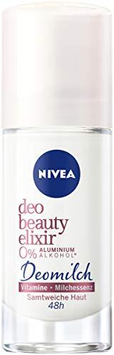 NIVEA Deo Beauty Elixir Roll On (40 ml), pflegendes Deo ohne Aluminium (ACH) mit antibakteriellem Schutz, 48h Deodorant mit Deomilch aus Milchessenz und Vitaminen