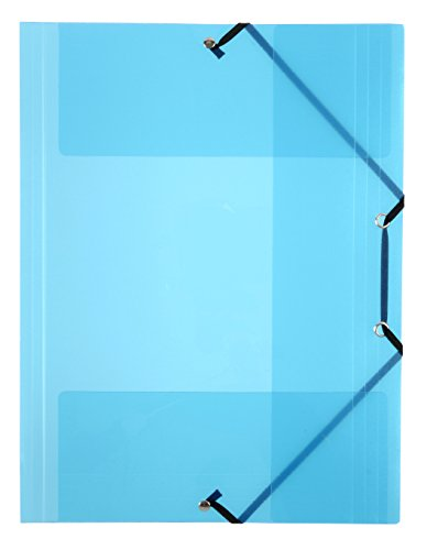 Viquel - Chemises plastique A4 avec rabats - Pochettes transparentes fermeture à élastique - Rangement documents A4 - Bleu translucide