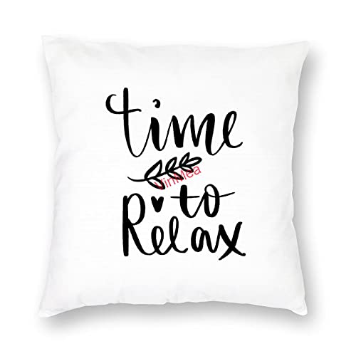 VinMea Decorative Pillow Covers Time Relax Cushion Covers for Sofa Bedroom Home Office Decor 18x18 Inch