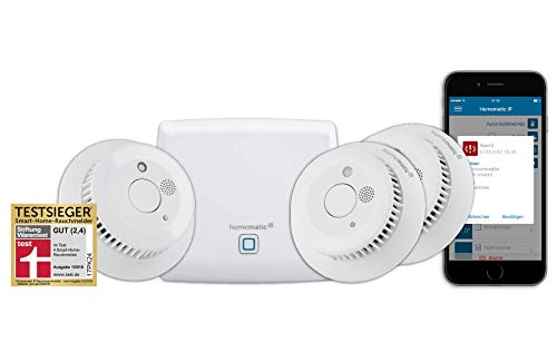 Homematic IP Smart Home Starter Set Rauchwarnmelder - Intelligenter Alarm lokal und per App aufs Smartphone, 150788A0