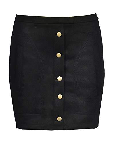 Damen Casual Faux Wildleder Kurz Rock Skirt Minirock Partyrock Schwarz M