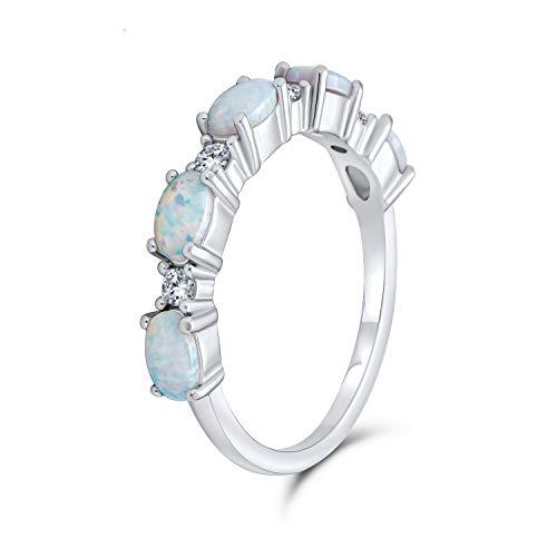 Delgado CZ apilable eternidad ovalado azul rosa creado anillo de banda de ópalo para las mujeres 925 plata de ley 1mm octubre piedra de nacimiento