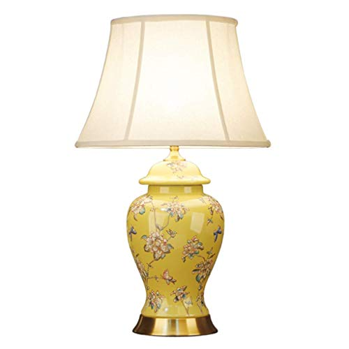 LZQBD Lámparas de Mesa, Lámpara de Escritorio Estilo Chino Lámpara de Mesa de Cerámica Lámpara de Noche Lámpara de Re,Pequeño