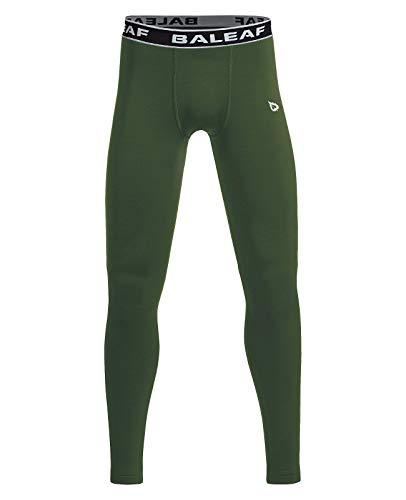 BALEAF Youth Boys' Compression Thermal Baselayer Sport Basketball Tights Fleece Lined Leggings Army Green Size M