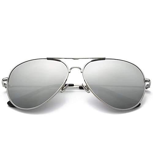 XUFAN Gafas de Sol polarizadas for el Hombre 168 mm de Gran tamaño Gafas de Sol de los Hombres de la Cara Grande Enorme Espejo de conducción de Aviación Gafas de Sol (Color : Silver)