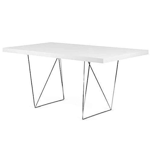 Bureaux et Tables Multi 160 ou Multi 180, épurés et Fonctionnels. TEMAHOME - Multi 180 cm, Blanc Pur (Mat), Pieds chromés
