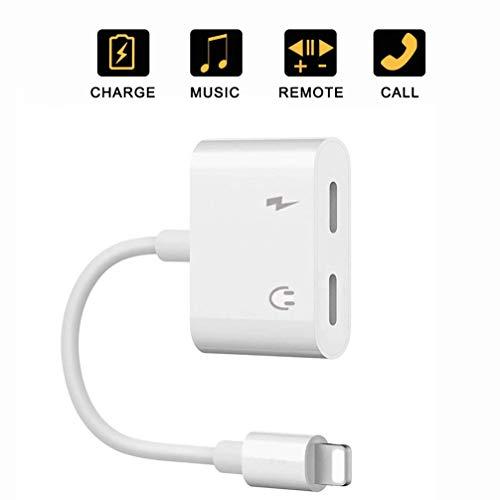 Kopfhörer-Adapter für iPhone 12 AUX Audio [ Audio + Fernbedienung] Adapter 4 in 1 Klinke Kopfhörer kompatibel für iPhone 7/7P/8/8P/X/XS/iPad/iPod Dual Kopfhörer Kabel Konverter unterstützt alle iOS