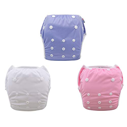 ALVABABY Swim Diapers 2pcs One Size Reuseable Adjustable 0-24 mo.Size 10-40lbs SW01-02