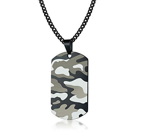 VNOX personalisierte Edelstahl Camo Camouflage Hundemarke Anhänger Militär Armee Halskette, kostenlose Rückseite vertikale Gravur