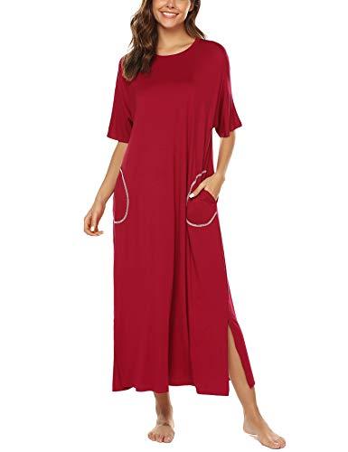 BESDEL Nachthemd Für Frauen Übergroße Loose Fit Nachtwäsche Lange Loungewear Weinrot XXL