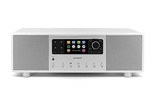 sonoro Primus Impianto Stereo Compatto con Bluetooth e Radio Internet (VHF, WLAN, DAB Plus, Spotify, Amazon, Deezer, Tidal, USB, MP3) Bianco