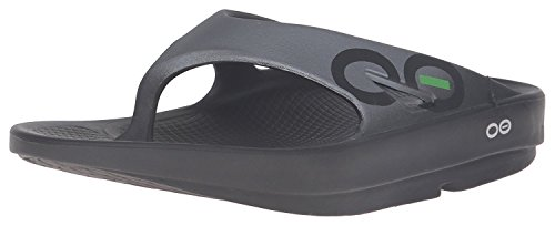 OOFOS Unisex Ooriginal Sport Thong Flip Flop,Black/Graphite,12 B(M) US Women/10 D(M) US Men