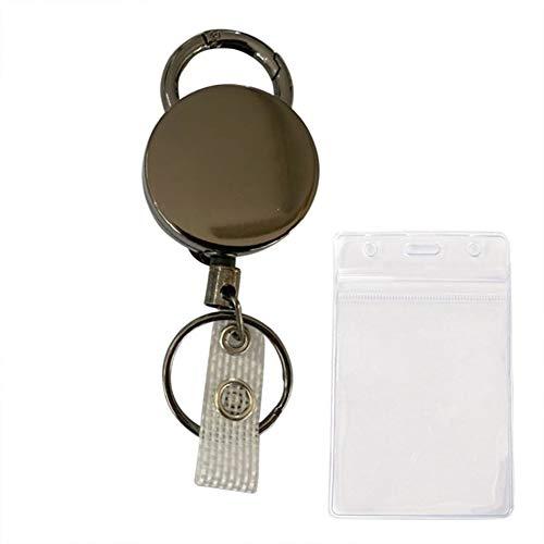 ruggito Llavero fácil retráctil gris del tirón del botón fácil del tirón del arma de la aleación del