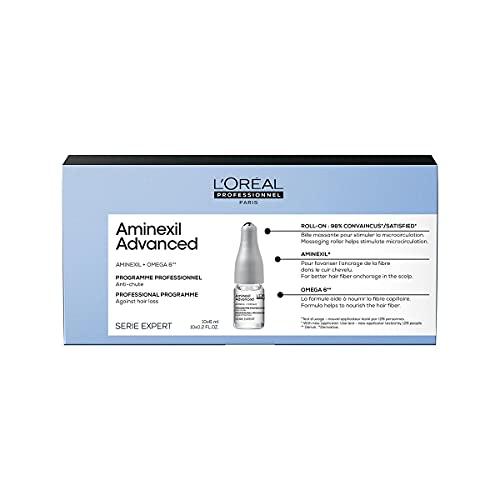L'Oréal Professionnel   Tratamiento Anti-Afinamiento para un cabello de aspecto más denso y con más cuerpo, Aminexil Advanced, SERIE EXPERT, 10x6 ML